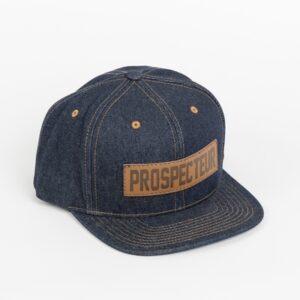 Casquette snapback en jeans avec patch du Prospecteur